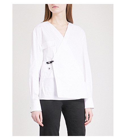 ALYX Wrap-front cotton-blend shirt (White