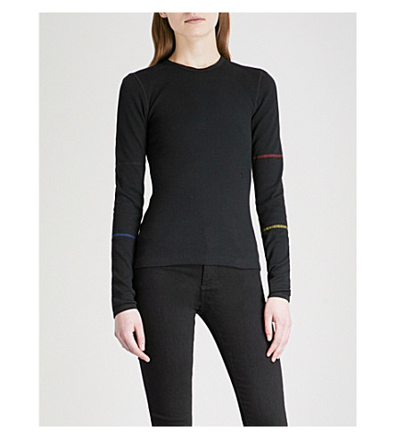 ALYX Metallic-trim ribbed cotton-blend top (Black