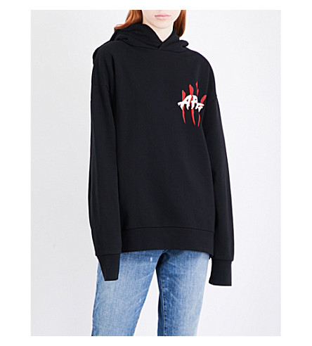 ARIES Claw cotton-jersey hoody (Black