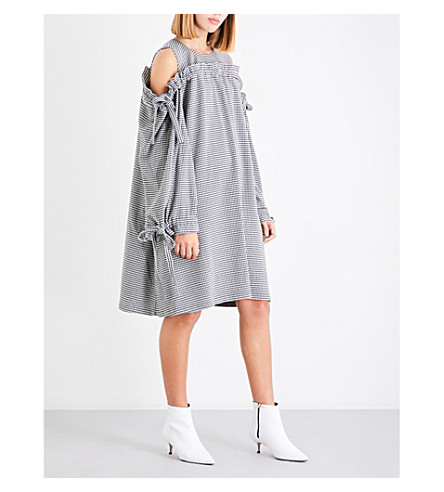 PASKAL Cold-shoulder houndstooth woven dress (Houndstooth