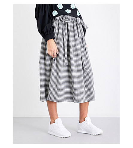PASKAL Houndstooth-pattern high-rise woven skirt (Houndstooth