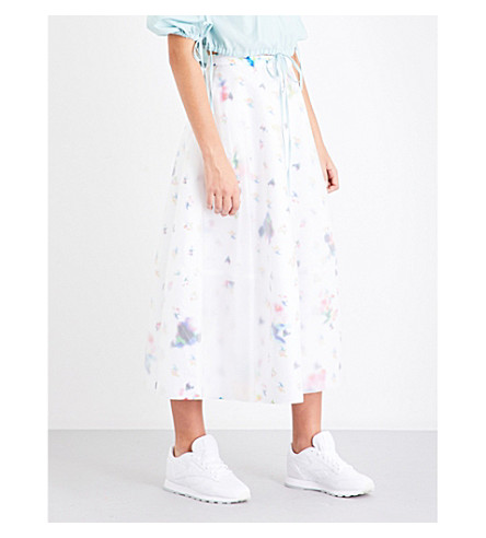 PASKAL Floral-print vinyl-overlay high-rise satin skirt (Blurred+flowers+on+white