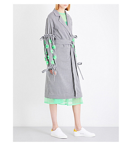 PASKAL Floral-appliqué houndstooth-pattern woven coat (Houndstooth+apple+green