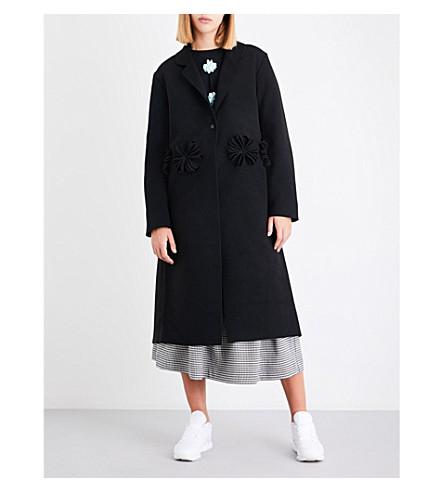 PASKAL Floral-appliqué felt coat (Black