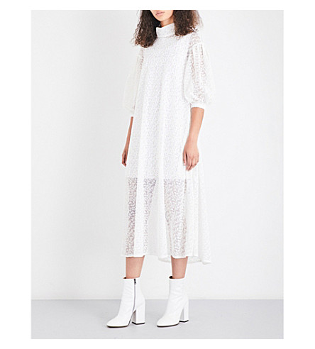 PASKAL Long-sleeved embroidered tulle dress (Milk white