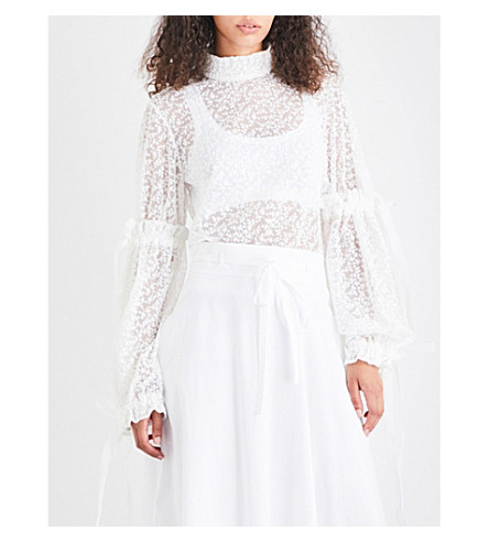 PASKAL Embroidered tulle top (Milk+white
