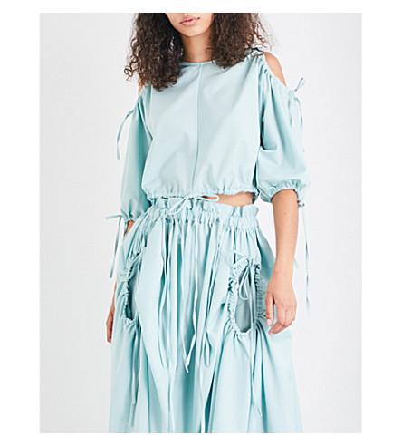 PASKAL Cold-shoulder wool-blend cropped top (Mint