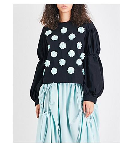 PASKAL Bishop cotton-blend top (Black+mint