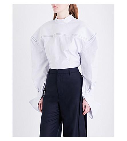 JACQUEMUS Pinstripe-print cotton top (White blue striped
