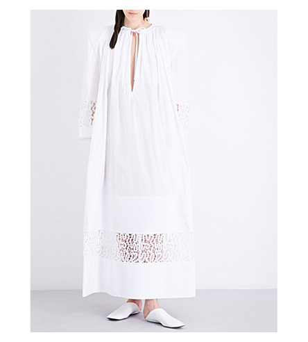 JACQUEMUS Lace-embroidered cotton-poplin dress (White