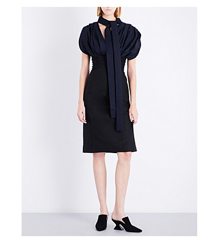 JACQUEMUS La Robe Madame wool dress (Navy+black