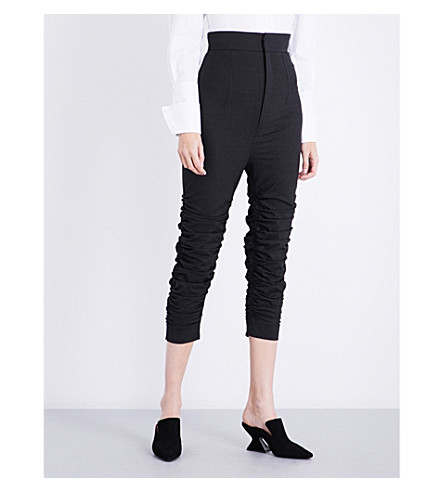 JACQUEMUS Le Corsaire ruched cropped stretch-wool trousers (Dark+grey