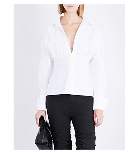 JACQUEMUS La Chemise plunging V-neck cotton-poplin shirt (White