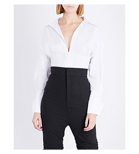 JACQUEMUS La Chemise plunging V-neck pinstriped cotton-poplin shirt (White+black+striped
