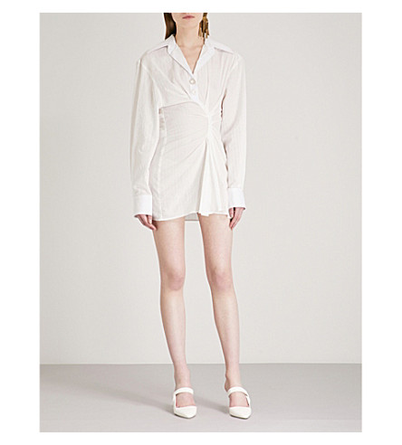 JACQUEMUS La Tunique Maceio assymetric cotton dress (Off+white