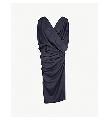 JACQUEMUS La Robe Sao ruched wool dress (Navy