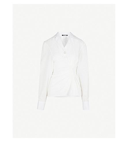 JACQUEMUS La Chemise Maceio asymmetric cotton shirt (Off+white
