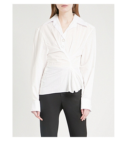 JACQUEMUS La Chemise Maceio asymmetric cotton shirt (Off+white