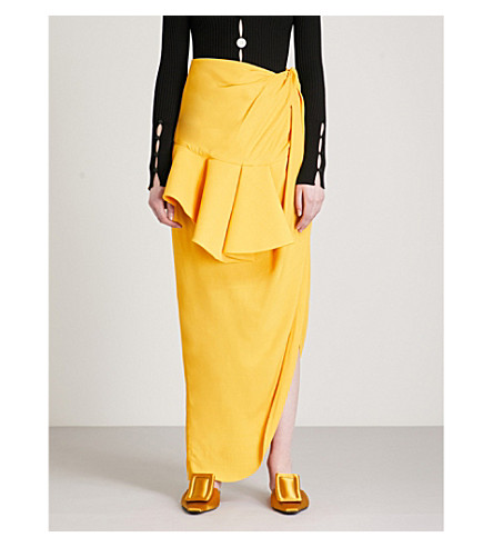 JACQUEMUS La Jupe ruched woven skirt (Yellow