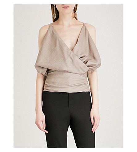 JACQUEMUS Le Sao ruched wool top (Beige