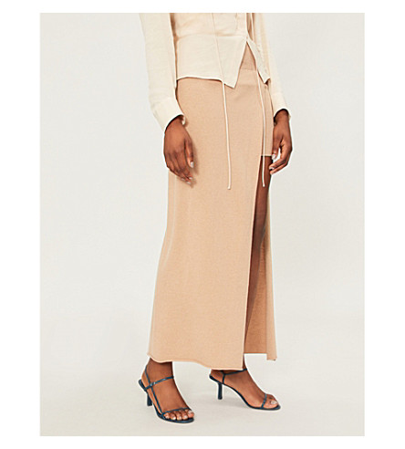 JACQUEMUS La Jupe Peron knitted skirt (Beige