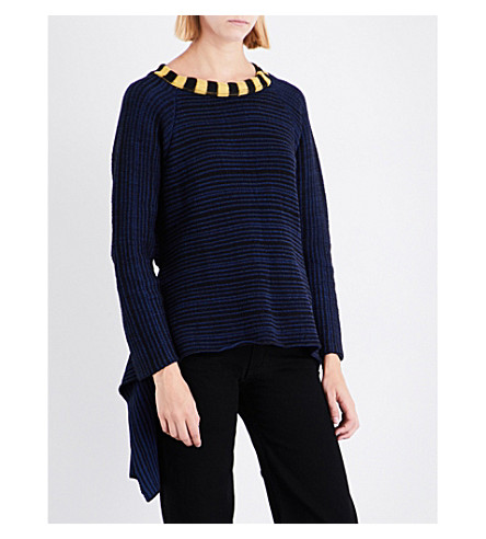 ECKHAUS LATTA Striped wool-blend jumper (Navy