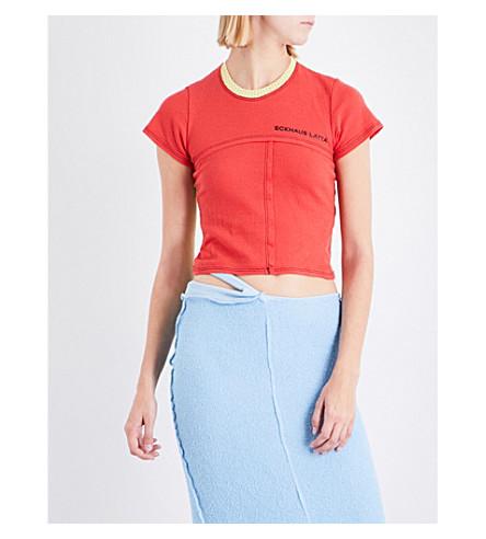 ECKHAUS LATTA Contrast-panel mesh T-shirt (Floral+red+mesh