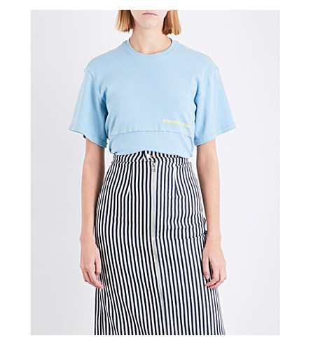 ECKHAUS LATTA Exposed-seam cotton-jersey T-shirt (Baby+blue