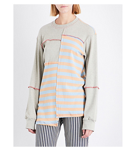 ECKHAUS LATTA Patchwork cotton-jersey sweatshirt (Multi