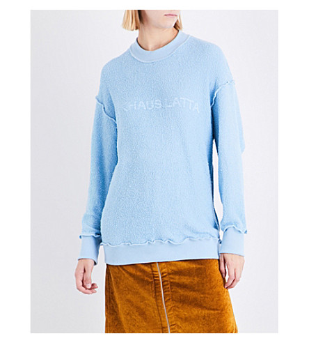 ECKHAUS LATTA Reversed cotton-jersey sweatshirt (Baby+blue