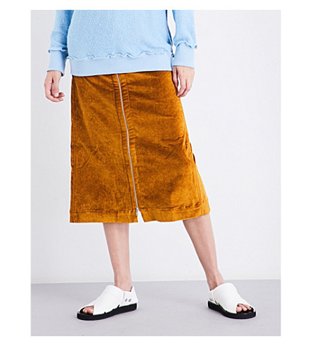ECKHAUS LATTA Zip-up velvet skirt (Gold
