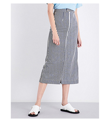 ECKHAUS LATTA Striped zip-up cotton skirt (Stripe