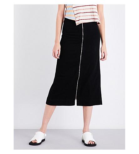 ECKHAUS LATTA Zip-up high-rise cotton skirt (Almost+black