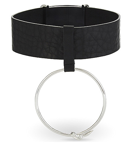 AMBUSH Ring leather choker (Slv+black