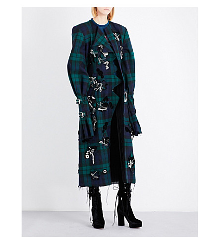 DILARA FINDIKOGLU Embellished tartan coat (Multi-coloured
