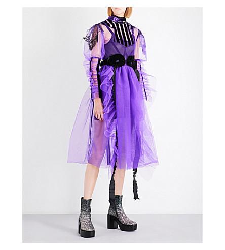 DILARA FINDIKOGLU Ruffled velvet and tulle midi dress (Purple