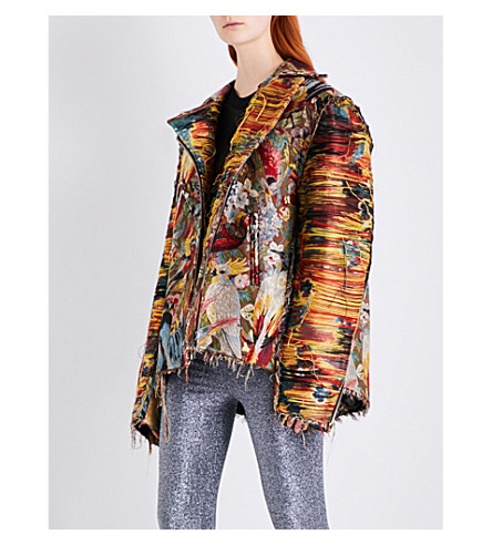 DILARA FINDIKOGLU Bird of Paradise cotton-jacquard jacket (Multi-coloured