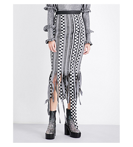 DILARA FINDIKOGLU Chequered ribbon midi skirt (Multi-coloured
