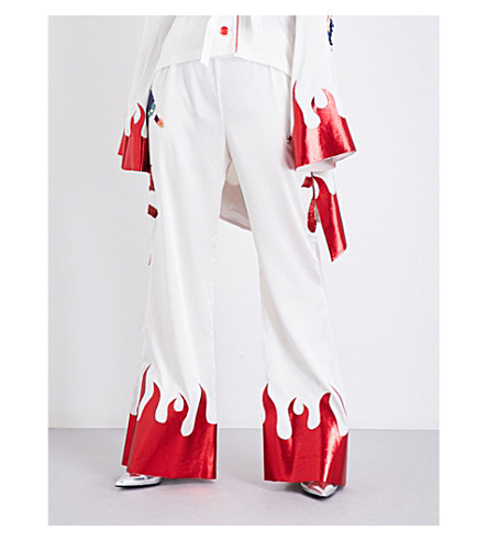 DILARA FINDIKOGLU Masonic silk-satin trousers (White