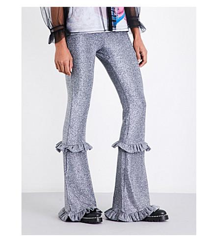 DILARA FINDIKOGLU Metallic flared high-rise trousers (Silver