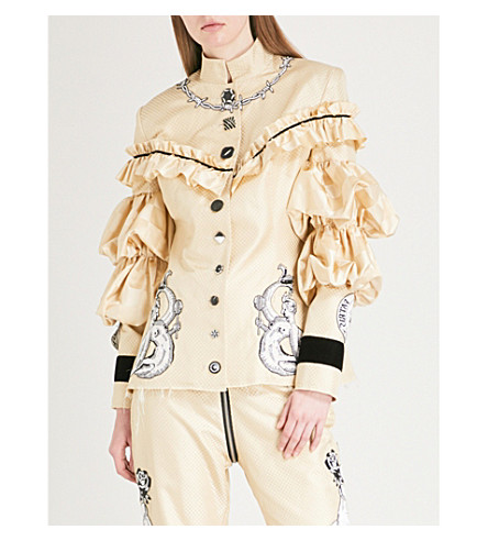 DILARA FINDIKOGLU Lucifer embellished silk jacket (Cream
