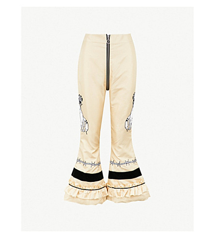 DILARA FINDIKOGLU Lucifer embellished silk trousers (Cream