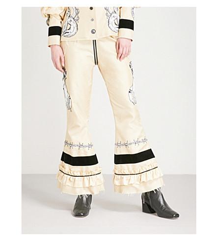 DILARA FINDIKOGLU Lucifer embellished silk trousers (Cream