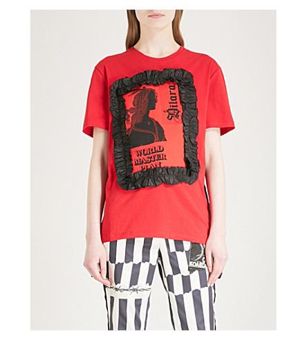 DILARA FINDIKOGLU主计划竖起平纹针织棉 T 恤 (红色