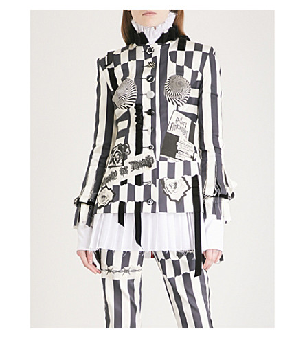 DILARA FINDIKOGLU Nun striped silk-satin jacket (White