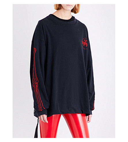 UNRAVEL Bones logo-print cotton-jersey sweatshirt (Black+red