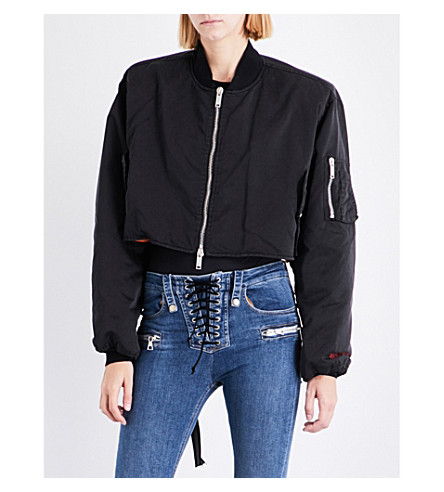 UNRAVEL Embroidered satin bomber jacket (Black