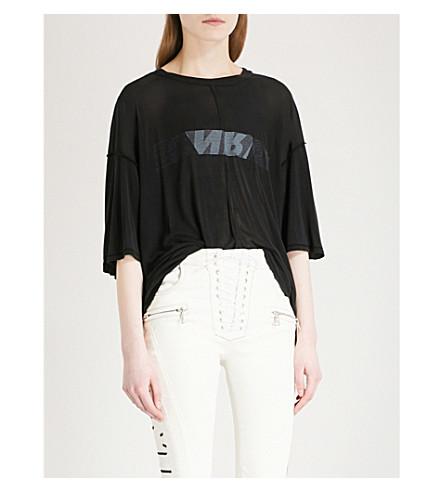 UNRAVEL Cutout silk-jersey T-shirt (Black+white
