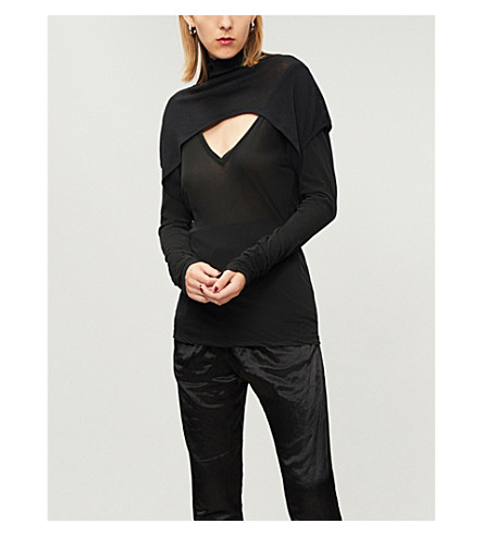 UNRAVEL High-neck cotton-jersey top (Black