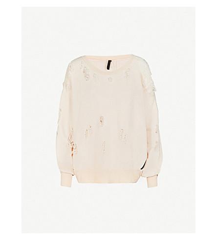 UNRAVEL Distressed oversized cotton-jersey sweatshirt (Light+pink